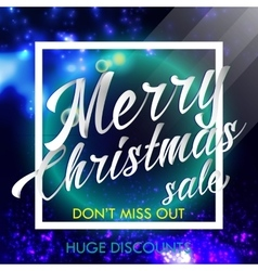 merry christmas sale lettering bright banner vector image