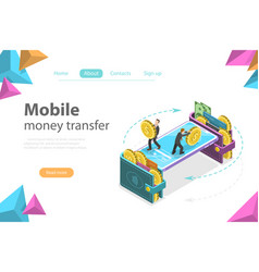 mobile money transfer isometric flat vector image
