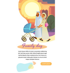 Muslim family day cartoon web page template vector