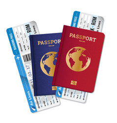 Passports tickets air travel realistic composition vector