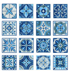 patchwork tile in blue gray and green colors vector image