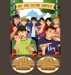 People in hotdog eating contest vector