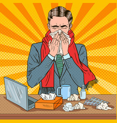 Pop art businessman sneezing at work vector