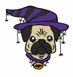 pug wear witch hat and spiders happy halloween vector image
