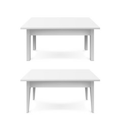 realistic white office tables with shadow vector image
