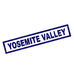 Rectangle scratched yosemite valley stamp vector