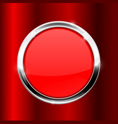 red button with metal frame on red background vector image