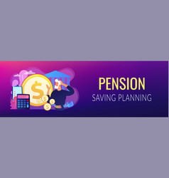 Retirement preparation concept banner header vector