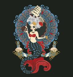 Roroco mermaid art nouveau frame vector