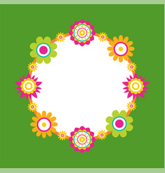 Round frame made of abstract flower blossom vector
