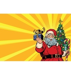 Santa Claus Christmas tree and gift copy space vector