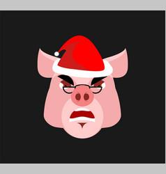 santa piig angry emoji aggressive piggy head farm vector image