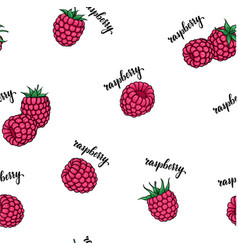 Seamless pattern pink raspberries with lettering vector
