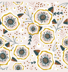 seamless pattern with flowers berries creative vector image