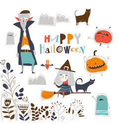 set cute halloween characters on white vector image