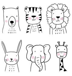 set hand drawn cute animals childrens vector image