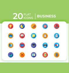 set of 20 business modern flat icons for website vector image