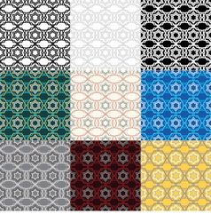 Set of 9 ethnic boho seamless pattern vector