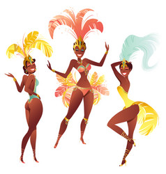 Set of brazilian samba dancers carnival vector