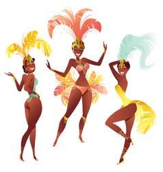 Set of brazilian samba dancers carnival vector