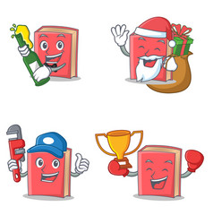 Set of red book character with beer gift plumber vector