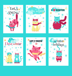 set of winter cards with cute cats vector image