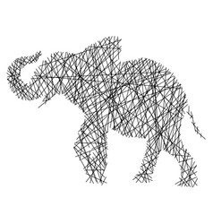 silhouette elephant with messy straight lines vector image