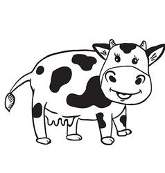 simple black and white cute cow vector image