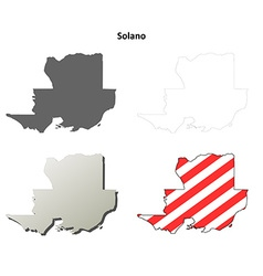 Solano County California outline map set vector