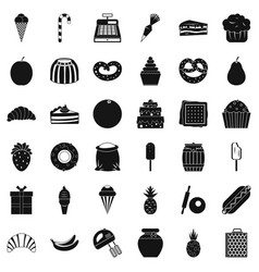 Sweet dessert icons set simple style vector