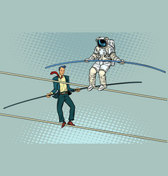 Tightrope walkers acrobats businessman and vector