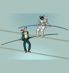 Tightrope walkers acrobats businessman vector