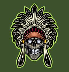 tribal chief skull head esport mascot logo vector image
