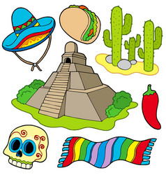 Various mexican images vector