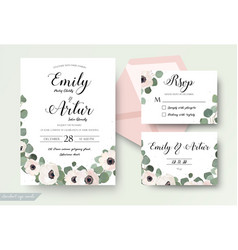 wedding invitation floral rsvp thank you card set vector image