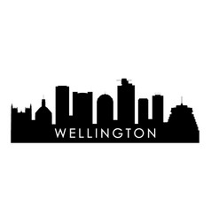 Wellington skyline silhouette black wellington vector