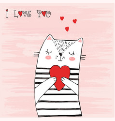 White cat with black stripes and a heart vector