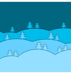 Winter background with fir trees vector
