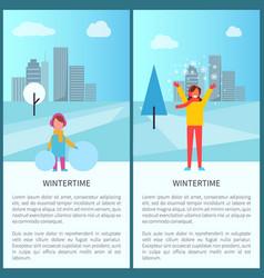 Wintertime activities in city vector