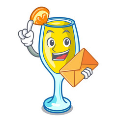 With envelope mimosa character cartoon style vector