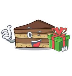 With gift tiramisu mascot cartoon style vector