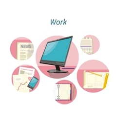 Work with Document Concept Flat Design vector image