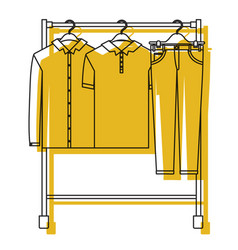 Yellow watercolor silhouette of male clothes rack vector