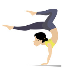Young woman with lithe figure doing sport or yoga vector