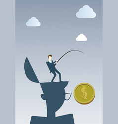 business man hold coin with fishing tackle money vector image vector image