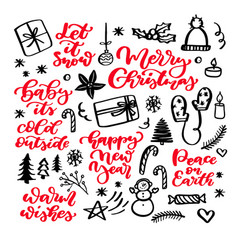 christmas doodles and holiday lettering hand vector image vector image