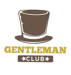 gentlemen club logo in vintage style on white vector image vector image