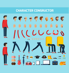 male character constructor flat composition vector image vector image