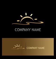 sun shine beach summer gold logo vector image