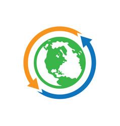 world earth arrow logo image vector image vector image